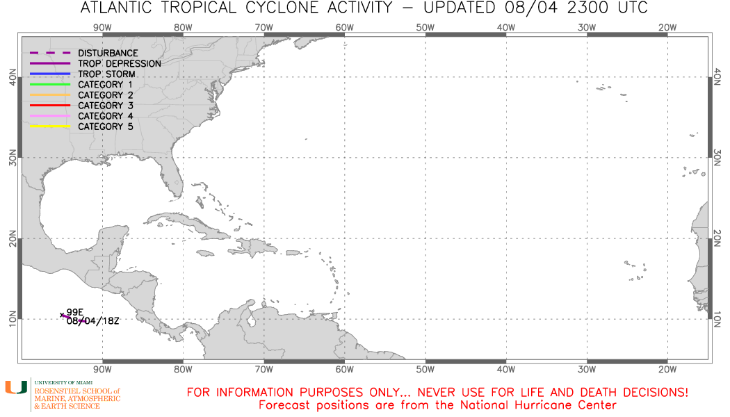 Latest tropical cyclone tracking map for the Atlantic basin.